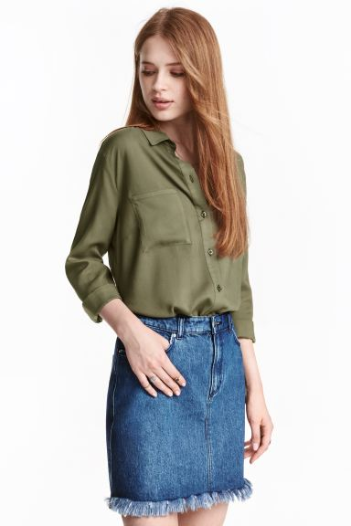 Viscose shirt - Khaki green - Ladies | H&M GB