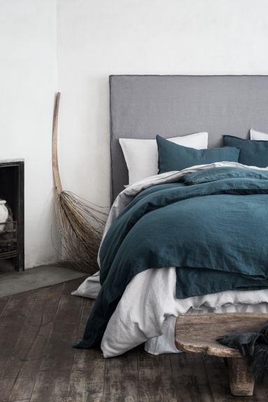 Washed Linen Duvet Cover Set - Dark petrol - Home All | H&M CA