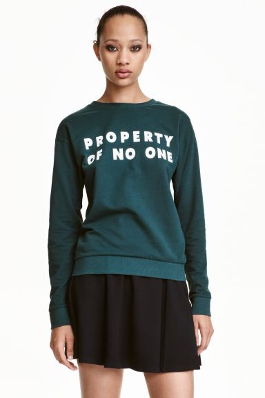 Printed sweatshirt - Dark green - Ladies | H&M GB