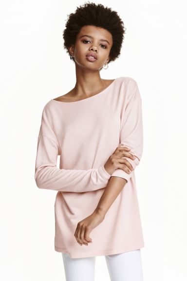 Long-sleeved jersey top - Powder pink - Ladies | H&M GB