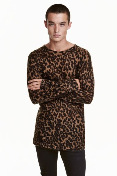 Knitted jumper - Beige/Leopard print - Men | H&M GB