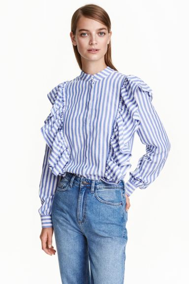 Frilled blouse - Blue/Striped - Ladies | H&M GB