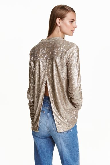 Sequined top - Bronze - Ladies | H&M GB