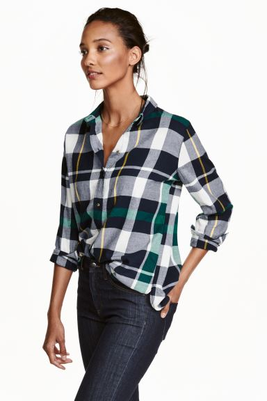 Flannel shirt - Green/Checked - Ladies | H&M GB