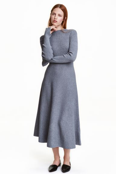 Rib-knit dress - Grey-blue marl - Ladies | H&M GB