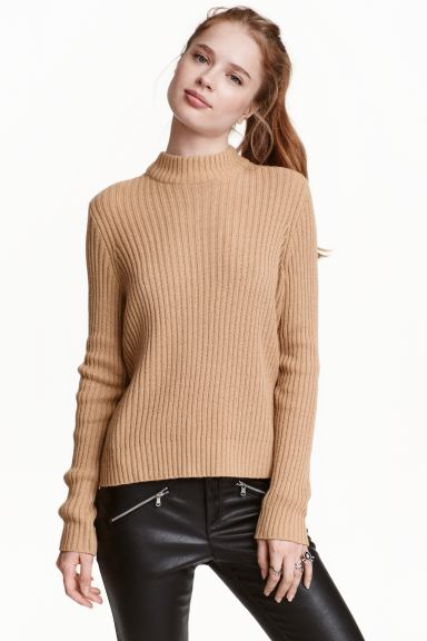 Rib-knit jumper - Beige - Ladies | H&M GB