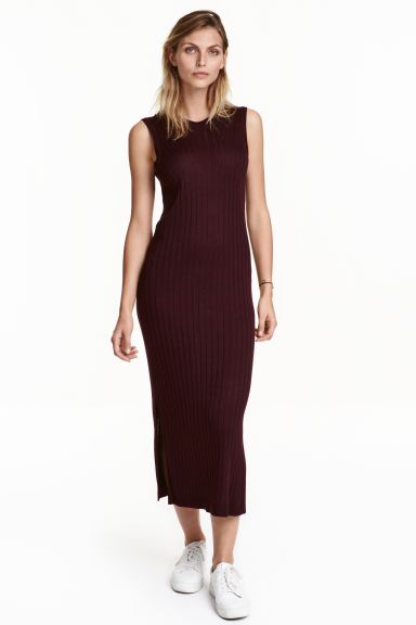 Ribbed dress - Plum - Ladies | H&M GB