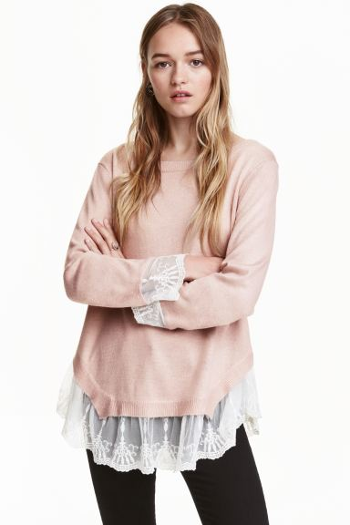 Jumper with lace trims - Old rose - Ladies | H&M GB