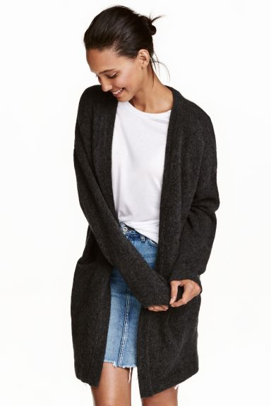 Knitted cardigan - Dark grey marl - Ladies | H&M GB