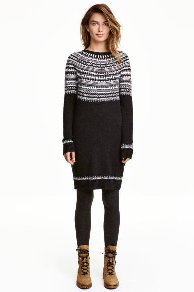 Knitted dress - Dark grey/Patterned - Ladies | H&M GB