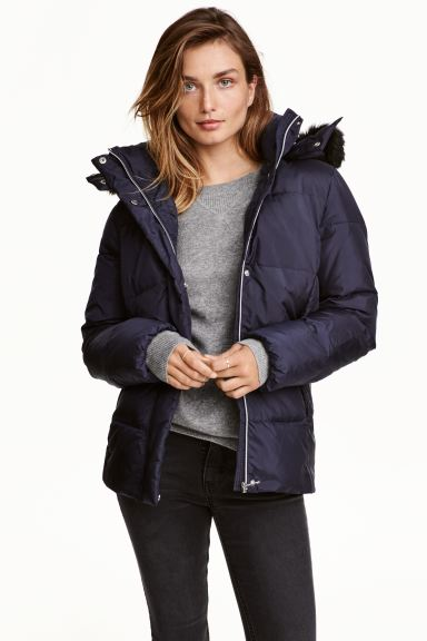 Down jacket with a hood - Dark blue - Ladies | H&M GB