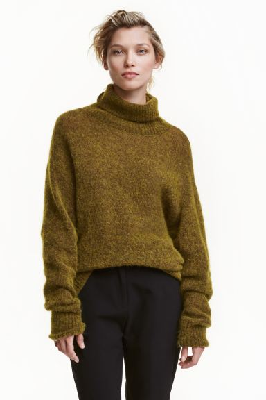 Mohair-blend polo-neck jumper - Olive green marl - Ladies | H&M GB