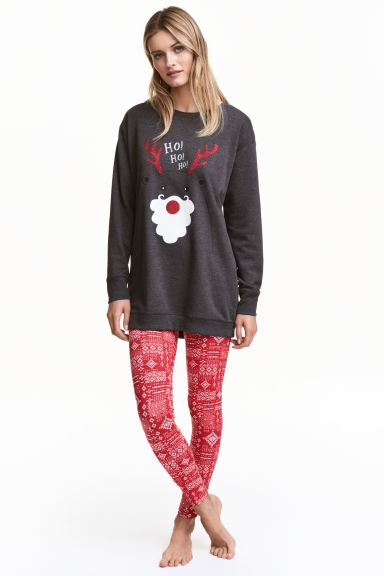 Lounge set top and leggings - Red/Reindeer - Ladies | H&M GB