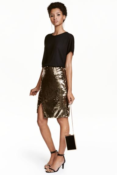 Sequined wrap skirt - Gold - Ladies | H&M GB