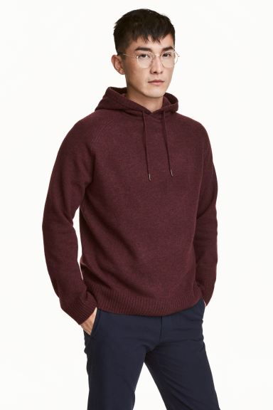 Wool-blend hooded jumper - Burgundy marl - Men | H&M GB