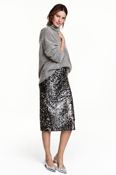Sequined skirt - Black - Ladies | H&M GB