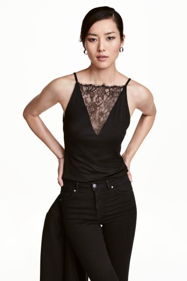 Top with lace detail - Black - Ladies | H&M GB