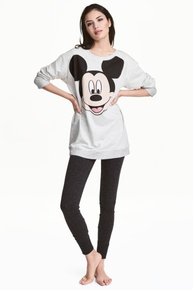 Lounge set top and leggings - Grey/Mickey Mouse - Ladies | H&M GB