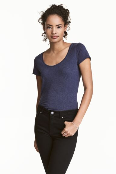 T-shirt in jersey - Blu scuro mélange - DONNA | H&M IT