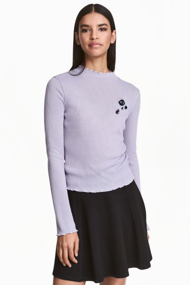 Rib-knit jumper - Light lavender blue - Ladies | H&M GB