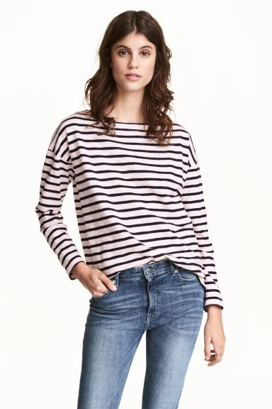 Long-sleeved top - Light pink/Striped - Ladies | H&M GB