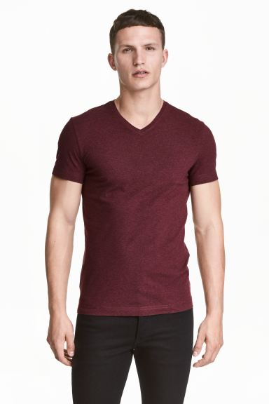 V Neck T Shirt Slim Fit Burgundy Marl Men H M Us