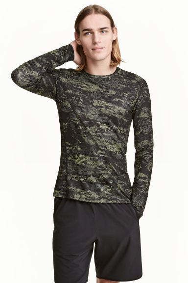 Sportshirt Muscle Fit - Neongrün/Gemustert - Men | H&M AT