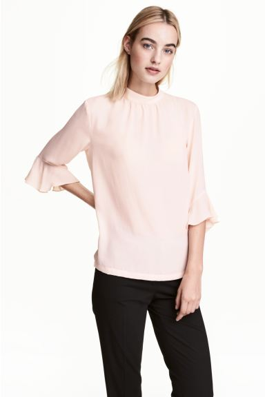 Blouse with flounced sleeves - Powder pink - Ladies | H&M CA