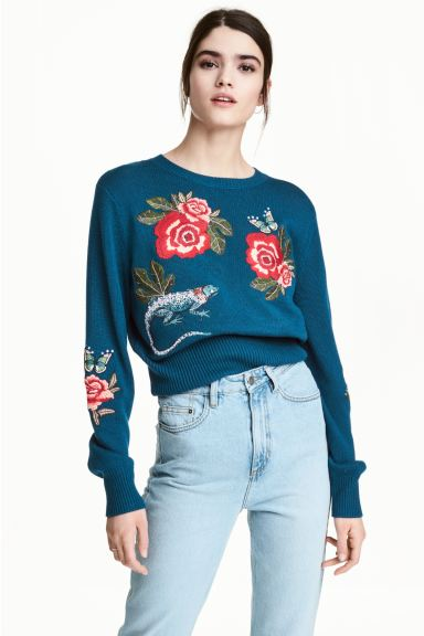 Knitted jumper with embroidery - Dark blue/Floral - Ladies | H&M GB