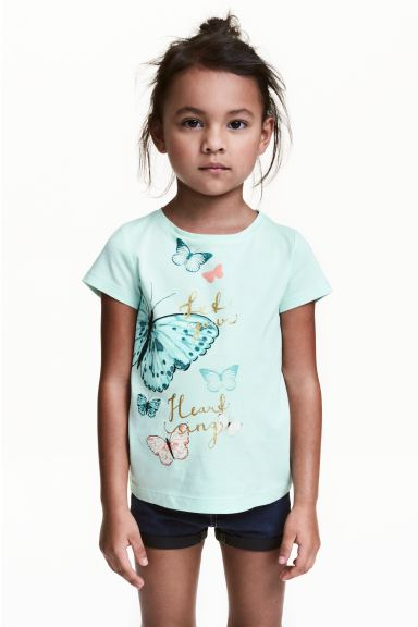 Printed top - Mint/Butterflies - Kids | H&M GB