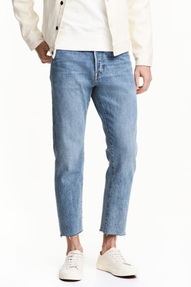 Relaxed Cropped Jeans - Light denim blue - Men | H&M GB