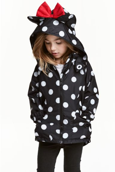 Jersey-lined windproof jacket - Black/Minnie Mouse - Kids | H&M GB