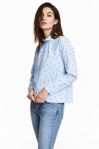 Blouse with a stand-up collar - Light blue/Stars - Ladies | H&M GB