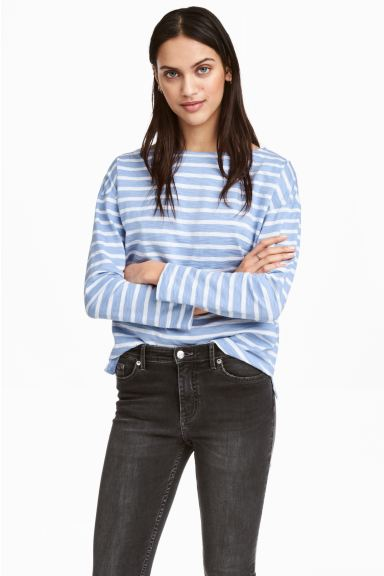 Long-sleeved top - Light blue/Striped - Ladies | H&M GB