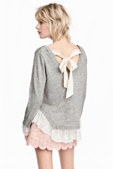 Jumper with lace trims - Grey marl - Ladies | H&M GB