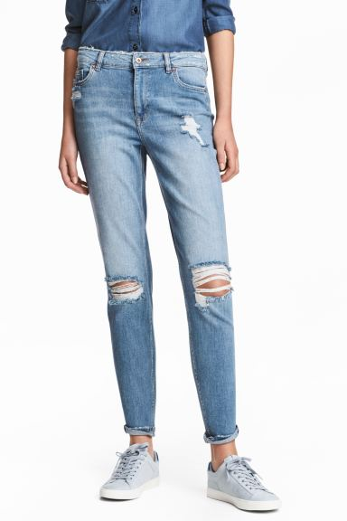 Boyfriend Slim Low Jeans - Light denim blue - Ladies | H&M GB