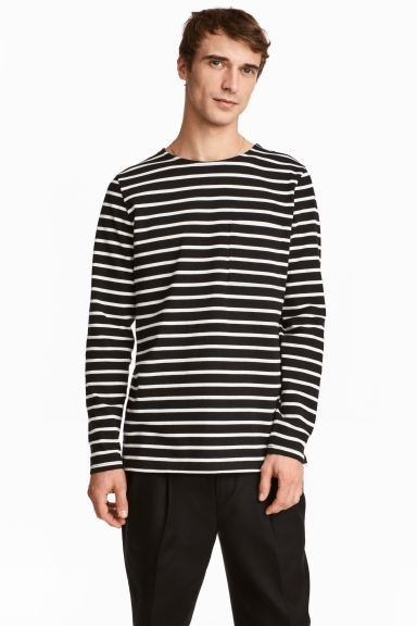 Top with a chest pocket - Black/White/Striped - Men | H&M GB