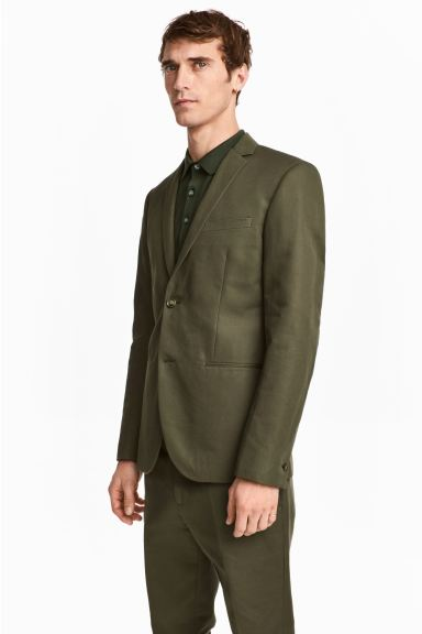Linen-blend jacket Slim fit - Khaki green -  | H&M GB
