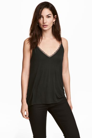 Strappy top with lace detail - Black - Ladies | H&M GB