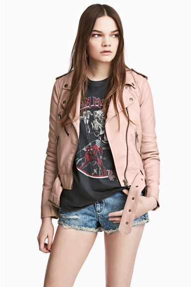 Biker jacket - Powder beige - Ladies | H&M GB