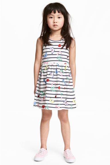 Patterned jersey dress - White/Strawberries - Kids | H&M GB