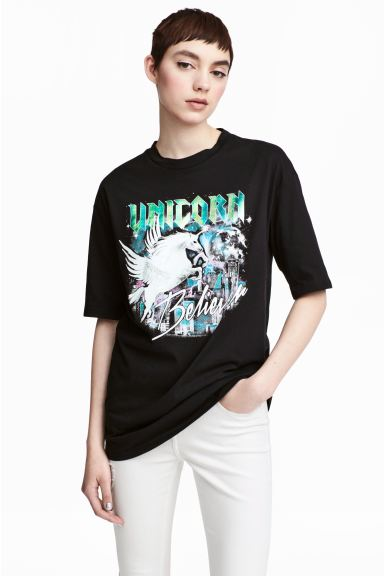 T-shirt with a motif - Black/Unicorn - Ladies | H&M GB