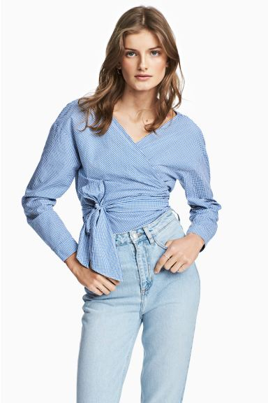 Wrapover blouse - Blue/White/Checked - Ladies | H&M GB