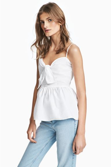 Cotton top with a tie - White - Ladies | H&M GB