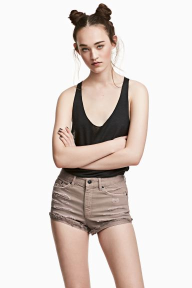 Shorts in denim Skinny Regular - Beige - DONNA | H&M CH