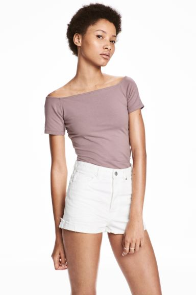 Off-the-shoulder top - Heather purple - Ladies | H&M GB
