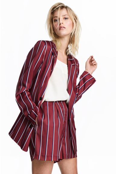 High-waisted shorts - Burgundy/Striped - Ladies | H&M GB