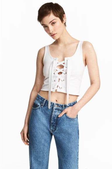 Laced top - White - Ladies | H&M IE