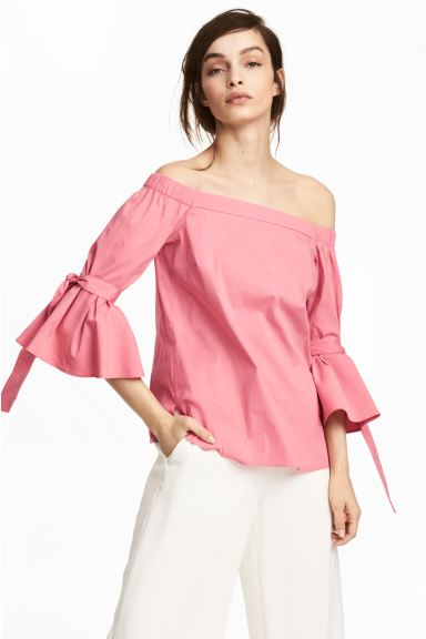 Off-the-shoulder blouse - Pink - Ladies | H&M GB