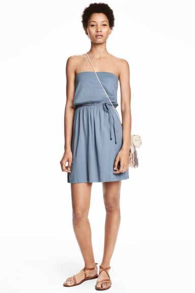 Strapless jersey dress - Grey-blue - Ladies | H&M GB